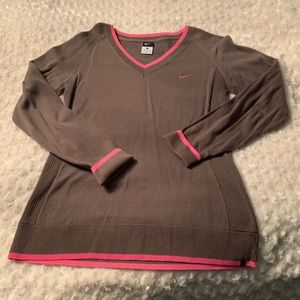 Nike L sweater brown with pink stripe detailing
